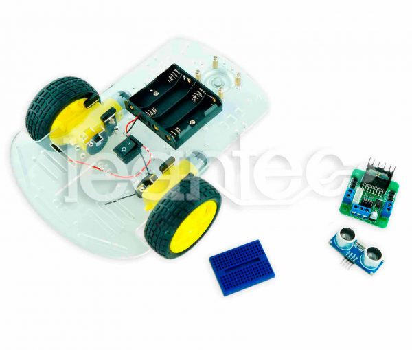Kit chasis robot 2WD + L298 + HC-SR04 + Protoboard