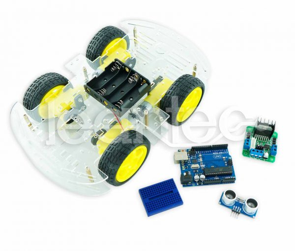 Kit robot de 4 ruedas con ultrasonido.