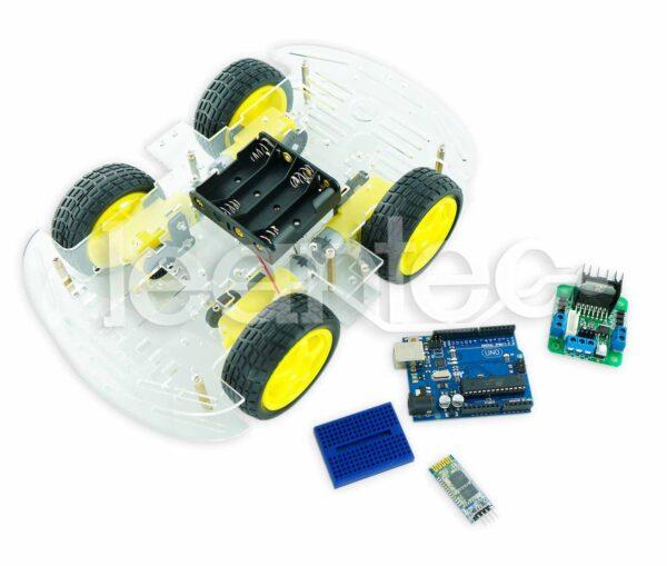 Kit robot de 4 ruedas con bluetooth.