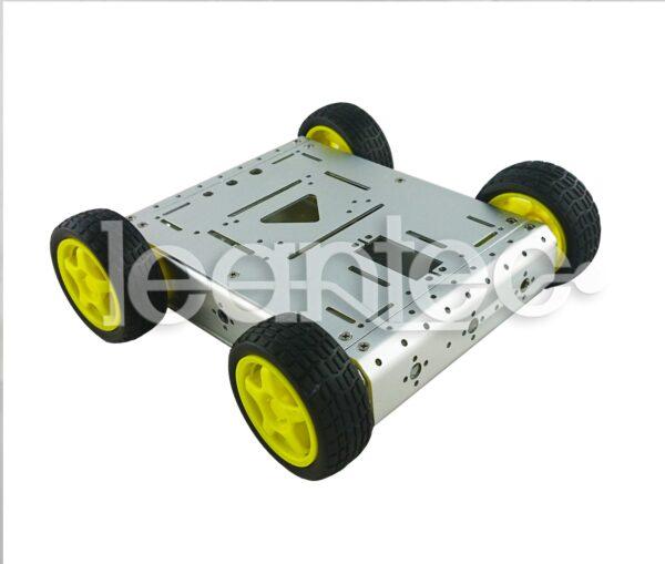 Chasis AL13. Chasis robot 4WD Metálico. Color plateado.