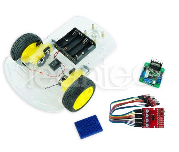 Kit chasis robot 2WD + L298N + Sendor infrarrojo + Protoboard