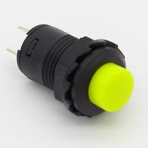 Interruptor AMARILLO redondo 12mm empotrable boton ON OFF 2 posiciones
