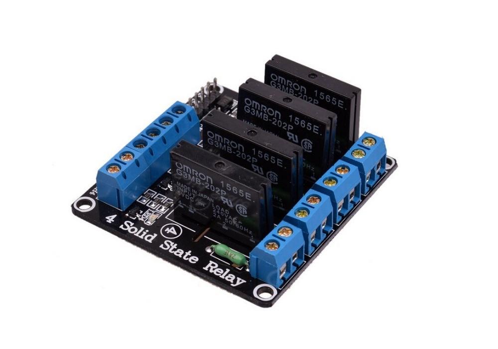 Modulo Rele Estado Solido Ssr 5v 4 Canales G3mb 202p Con Fusible Para Arduino H