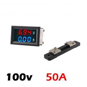 Voltimetro Amperimetro y shunt 100V 50A Digital DC Rojo Azul