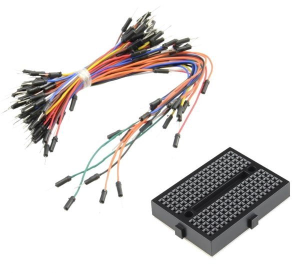 MINI BREADBOARD 170 PUNTOS NEGRO + PACK 65 CABLE JUMPER MACHO