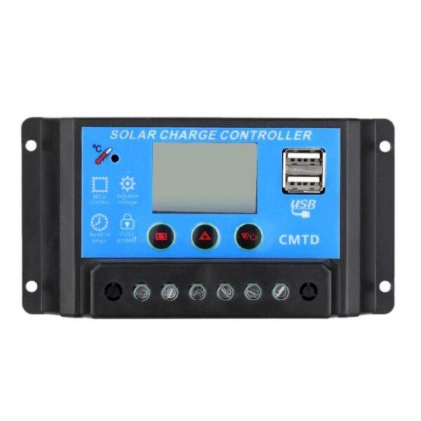 Regulador solar 20A 12V/24V con display 2 USB LCD placa caravana