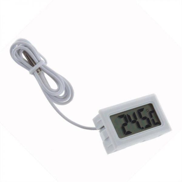 Termometro digital sonda 1m externa temperatura lcd acuario congelador Blanco