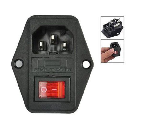 Conector 220V panel tipo C14 con interruptor y fusible