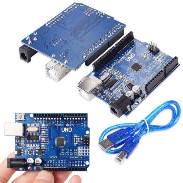UNO R3 ATmega328 CH340 100% Compatible con Arduino + pines + cable
