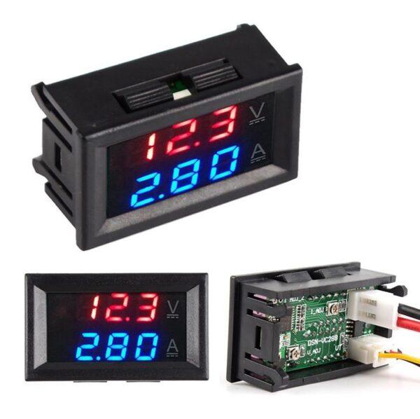 Voltimetro Amperimetro 100V 50A Digital DC Rojo Azul