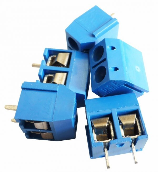 Borna Clema Conexion 2 pines 5mm Azul PCB enlazable tornillo bloque