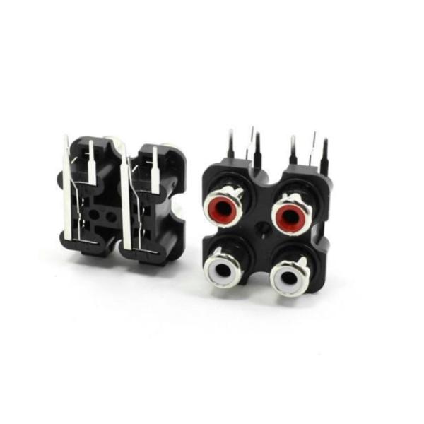 2x Doble conector RCA hembra montaje en panel