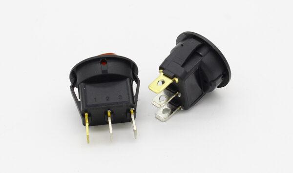 Interruptor ON OFF con luz ROJO Redondo rectangular 20mm SPST 250V 6A
