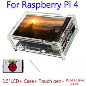 "Carcasa transparente acrilica raspberry pi 4 + LCD 3.5"" Tactil"