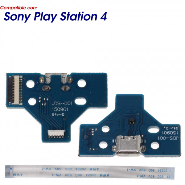 JDS-001 CONECTOR CARGA MANDO PLAY STATION 4 PLACA CORRIENTE MICRO USB PS4 + FLEX 14 PINES