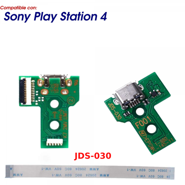 JDS-030 CONECTOR CARGA MANDO PLAY STATION 4 PLACA CORRIENTE MICRO USB PS4 + FLEX 12 pines