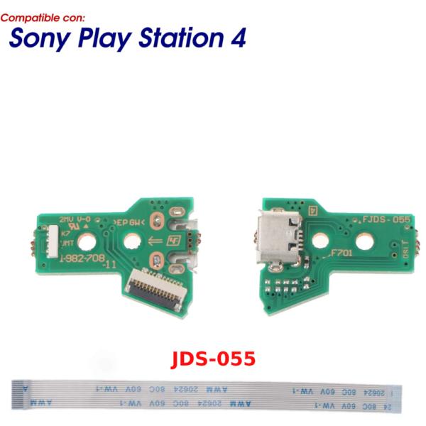 JDS-055 JDS-050 CONECTOR CARGA MANDO PLAY STATION 4 PLACA CORRIENTE MICRO USB PS4 + FLEX 12 pines