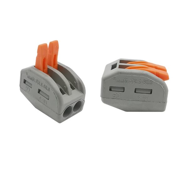2x Conector rapido 2 terminales 32A 4mm 4000v 250v pines palanca wago pct-212