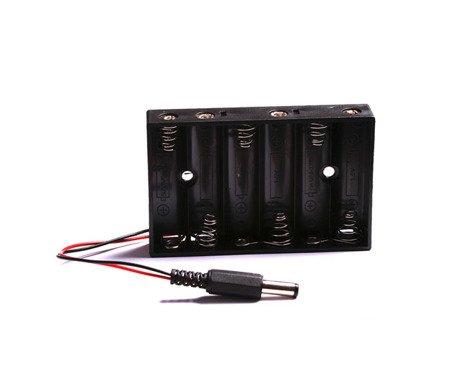 Portapilas 6xAA 6 Pilas LR06 AA conector DC Arduino