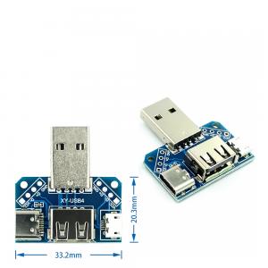 MODULO ADAPTADOR USB MACHO A USB - MICROUSB - TIPO C HEMBRA 2.54MM