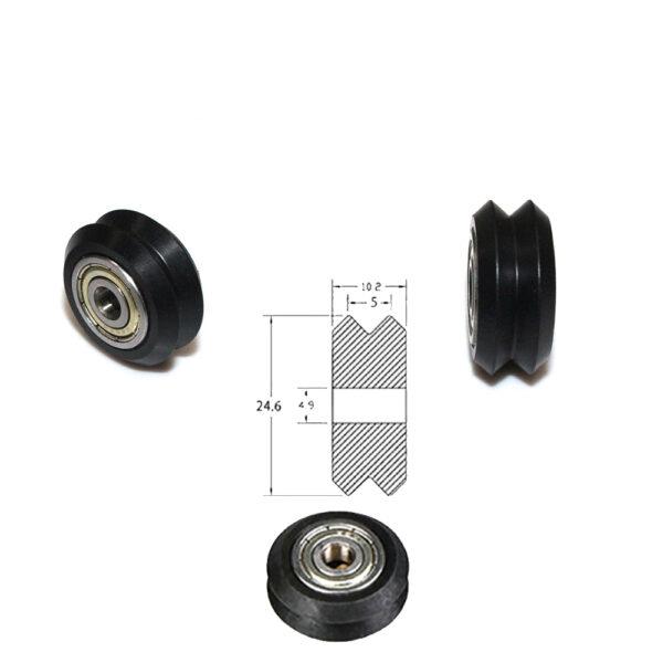 Polea Rueda tipo POM / V con rodamiento doble V para perfil aluminio V2020