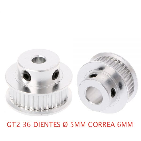 1x GT2 POLEA DENTADA 36 DIENTES ORIFICIO 5 MM CORREA 6 MM IMPRESORA 3D CNC