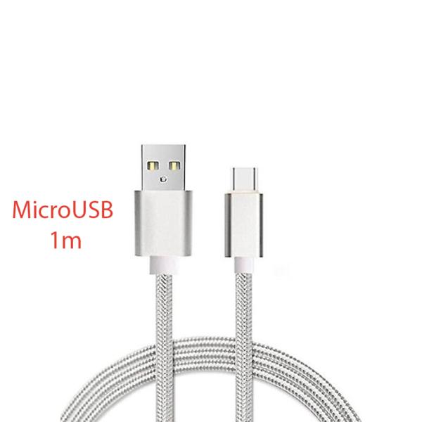 CABLE MICRO USB ALUMINIO TRENZADO 1m PLATA NYLON CARGA RAPIDA