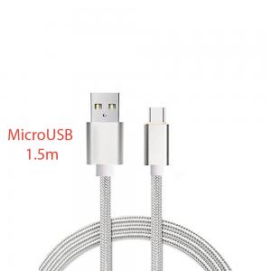 CABLE MICRO USB ALUMINIO TRENZADO PLATA NYLON 1.5M