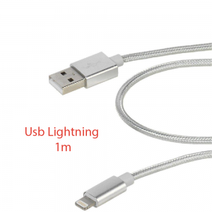 Cable cargador USB lightning 8 pin aluminio trenzado nylon COMPATIBLE iphone ipad 1m PLATA