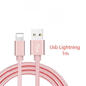 Cable cargador USB lightning 8 pin aluminio trenzado nylon COMPATIBLE iphone ipad 1m ROSA
