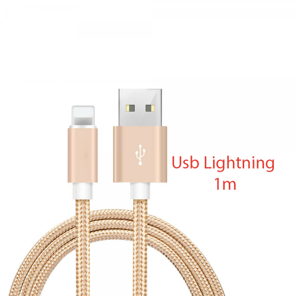Cable cargador USB lightning 8 pin aluminio trenzado nylon COMPATIBLE iphone ipad 1m ORO