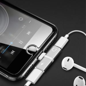 Adaptador 2 en 1 Iphone Ligthning a jack auriculares 3.5mm + carga PLATA