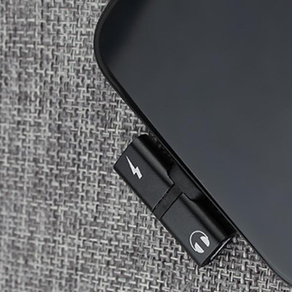 Adaptador 2 en 1 Iphone Ligthning a jack auriculares 3.5mm + carga NEGRO