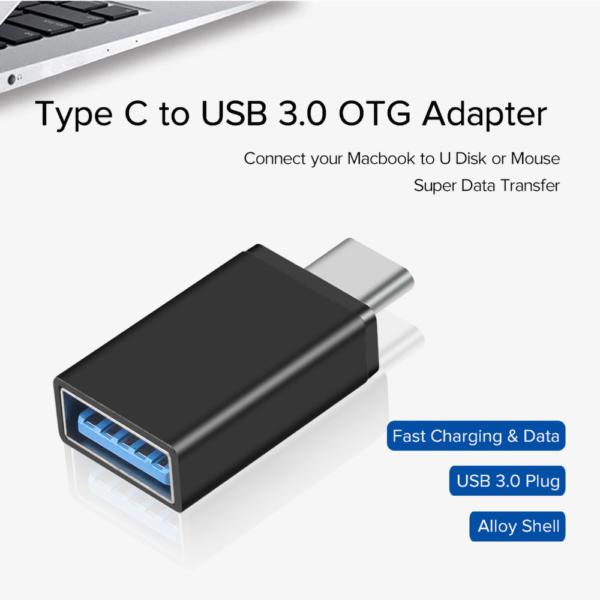Adaptador USB 3.0 Hembra a Tipo C USB 3.1 Macho OTG NEGRO