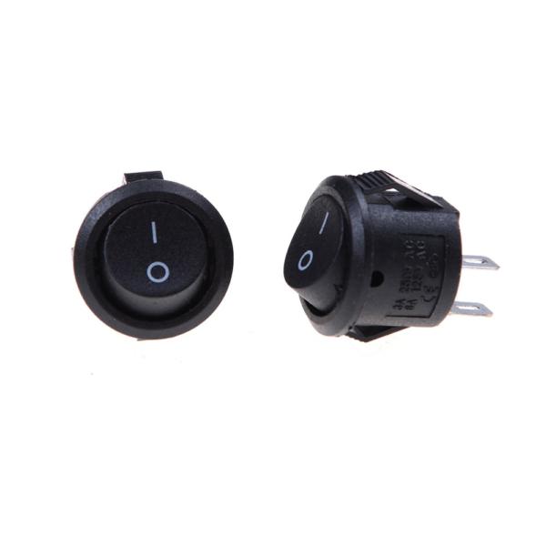 2x Interruptor ON OFF Redondo Negro PANEL 220v 250v 10A empotrable boton