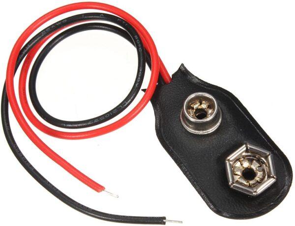 5x Conector CLIP para pila de 9v 6F22 CON CABLE P037