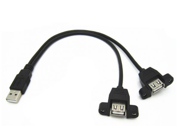 CABLE ALARGADOR USB 30CM MACHO A DOBLE HEMBRA