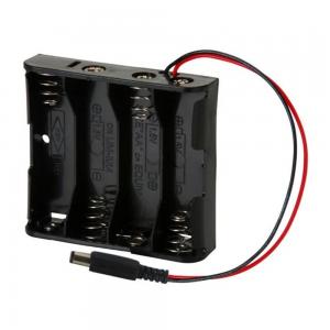 Portapilas 4xAA 4 Pilas LR06 AA conector DC Arduino P017