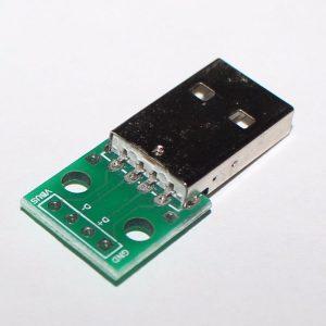 2x PCB Placa Adaptador Convertidor Conector Macho USB a Dip de 4 Pines 2.54