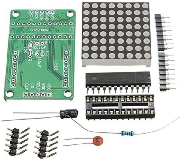 Kit para ensamblar display matriz 8x8 LED con MAX7219 Arduino