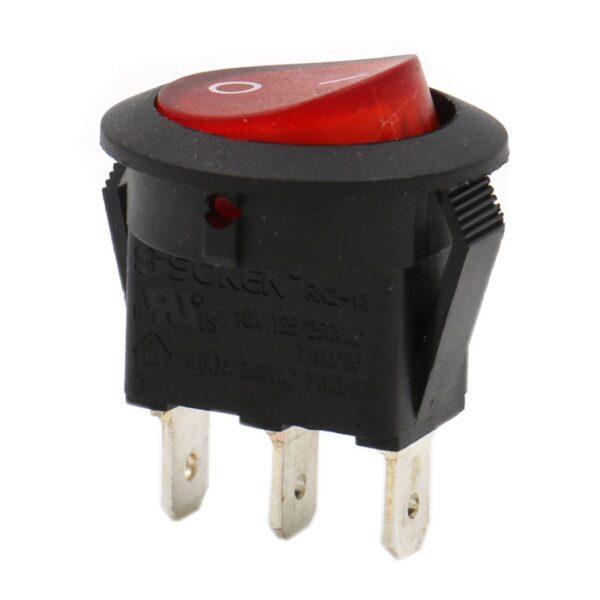 Interruptor ON OFF con luz ROJO Redondo 20mm SPST 220v 6A