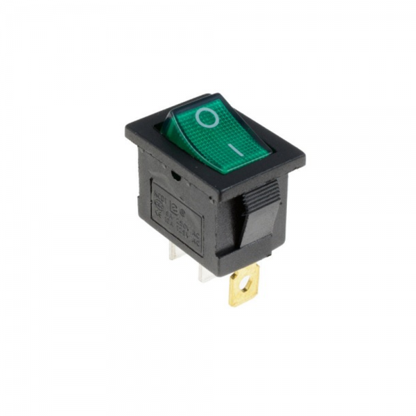 Interruptor ON OFF con luz 220v VERDE rectangular cuadrado SPST 6A 220v