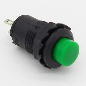 2x Interruptor VERDE redondo 12mm empotrable boton ON OFF