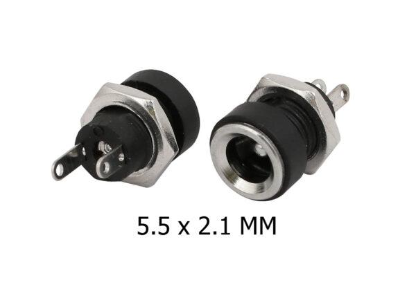5x Conector alimentación DC hembra 5,5X2,5MM
