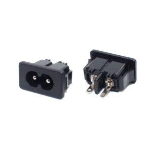 2x CONECTOR CORRIENTE AC IEC320 C8 CHASIS MACHO 2.5A 250V