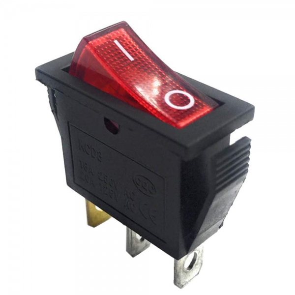 INTERRUPTOR ON OFF CON LUZ 220V ROJO RECTANGULAR KCD3 SPST 16A 220V