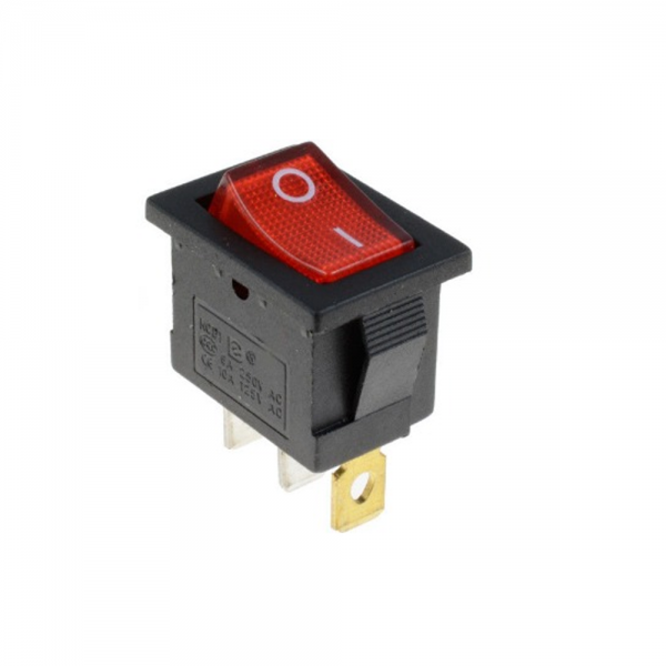 Interruptor ON OFF con luz 220v ROJO rectangular SPST 6A 220v