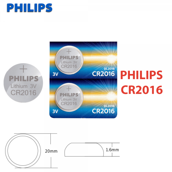 1x Pila de boton PHILIPS bateria original Litio CR2016 3V