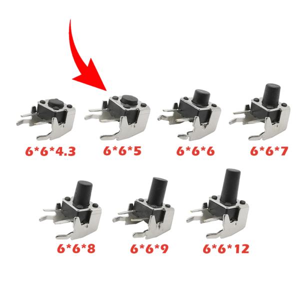 10x Pulsador Tactil Micro interruptor angulo recto con stent soporte 6*6*5mm
