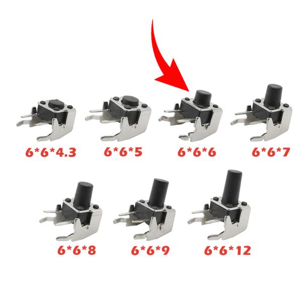 10x Pulsador Tactil Micro interruptor angulo recto con stent soporte 6*6*6mm